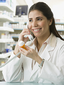 Female pharmacist on Phone